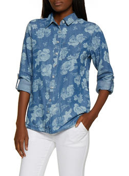 Floral Denim Shirt - 3001038340688
