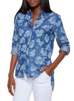 Floral Denim Shirt - 3001038340688