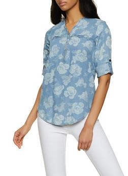 Floral Half Zip Denim Top - 3001038340689