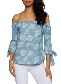 Floral Off the Shoulder Denim Top - 3001038340690