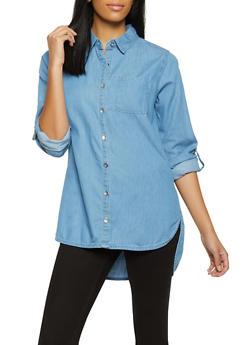 Button Front High Low Denim Shirt - 3001038341603