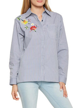 Embroidered Striped Button Front Shirt - 3001038348580