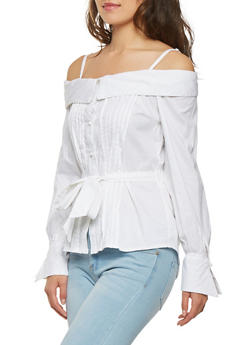 Pleated Off the Shoulder Button Front Top - 3001038348582