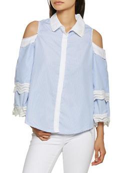 Striped Cold Shoulder Shirt - 3001038349588