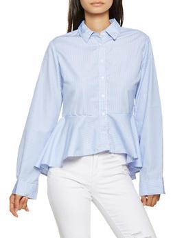 Striped High Low Peplum Shirt - 3001038349589