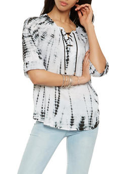 Tie Dye Lace Up Top - 3001038349605