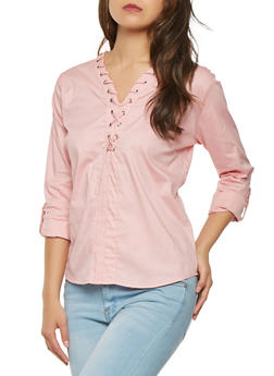 Lace Up Tabbed Sleeve Top - 3001038349611