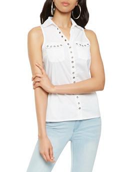 Sleeveless Grommet Detail Poplin Shirt - 3001038349639