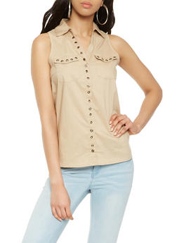 Sleeveless Grommet Detail Poplin Shirt - 3001038349639