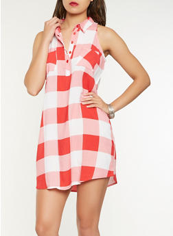 Sleeveless Plaid Tunic Top - 3001038349646