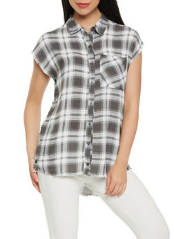 Frayed Plaid Flyaway Shirt - 3001038349648