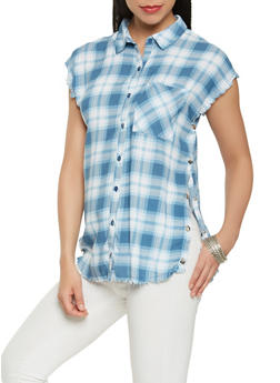Frayed Plaid Flyaway Shirt - 3001038349648