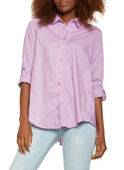Smocked Back High Low Shirt - 3001038349652