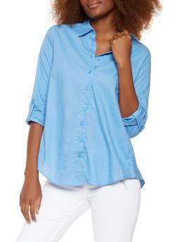 Smocked Back High Low Shirt - 3001038349652