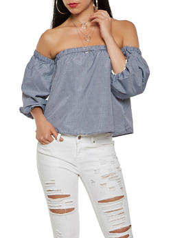 Gingham Bubble Sleeve Off the Shoulder Top - 3001038349662