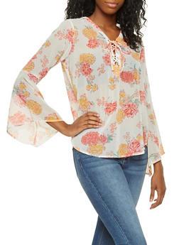 Floral Lace Up Blouse - 3001038349665