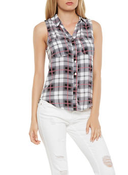 Sleeveless Plaid Button Front Shirt - 3001038349676