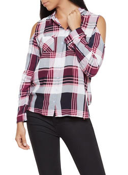 Plaid Cold Shoulder Shirt - 3001038349684