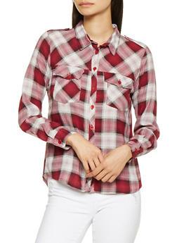 Plaid High Low Shirt - 3001038349690