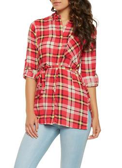 Plaid Button Front Shirt - 3001038349691