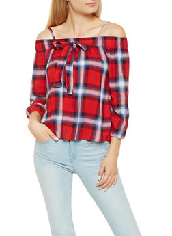 Plaid Off the Shoulder Top - 3001038349692
