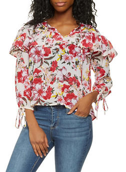 Ruffled Floral Blouse - 3001038349697
