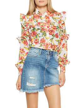 Ruffled Floral Shirt - 3001038349698