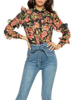 Ruffled Floral Shirt - 3001038349698