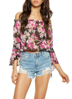Off the Shoulder Floral Top - 3001038349699