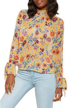 Floral Mock Neck Blouse - 3001051060006
