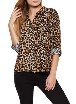 Pritned Button Front Shirt - 3001051060007