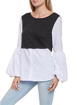 Color Block Bubble Bell Sleeve Shirt - BLACK/WHITE - 3001051060101