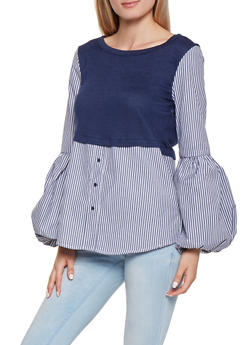 Color Block Bubble Bell Sleeve Shirt - 3001051060101
