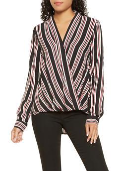 Striped High Low Faux Wrap Top - 3001051060132
