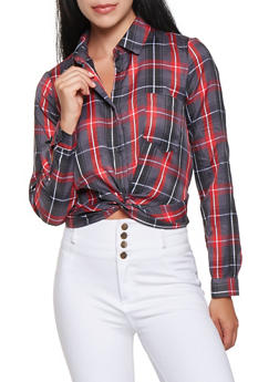 Plaid Twist Front Shirt - 3001051060213