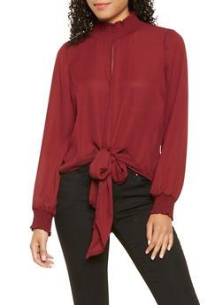 Mock Neck Tie Front Blouse - 3001051060296