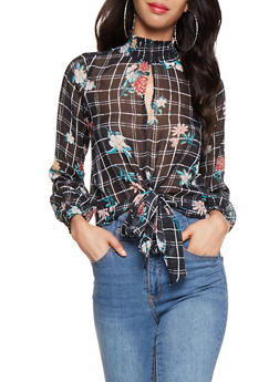 Printed Tie Front Blouse - 3001051060298