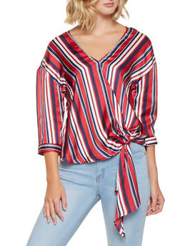Striped Satin Tie Front Blouse - 3001051060358