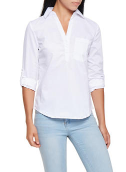 Tabbed Sleeve Button Front Shirt - 3001051060368
