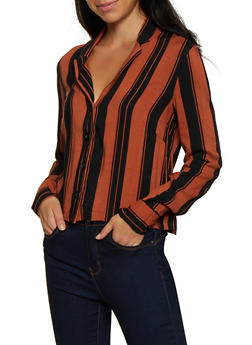 Vertical Stripe Button Front Shirt - 3001051060868