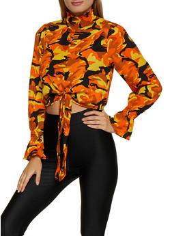 Mock Neck Printed Blouse - 3001051060886