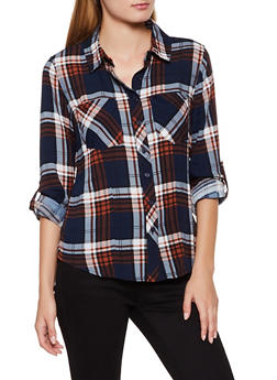 Plaid Tabbed Sleeve Button Front Shirt - 3001051060911