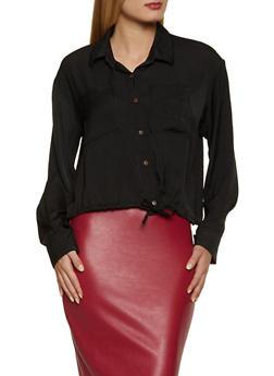 Drawstring Hem Button Front Shirt - 3001051061060