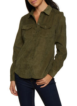 Corduroy Button Front Top - 3001051061062