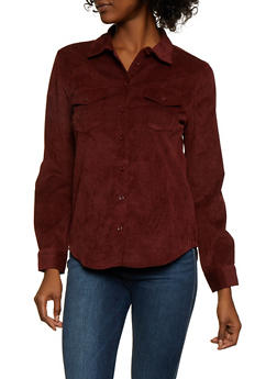 Corduroy Button Front Top - RUST - 3001051061062