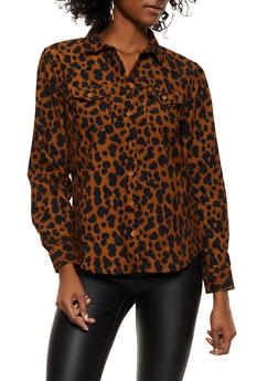 Printed Corduroy Button Front Shirt - 3001051061063