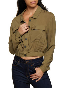 Two Pocket Button Front Crop Top - 3001051061090