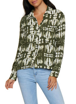 Tie Dye Button Front Shirt - 3001051061094