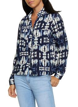 Tie Dye Button Front Shirt - 3001051061094