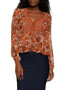 Long Sleeve Paisley Blouse - 3001051061096